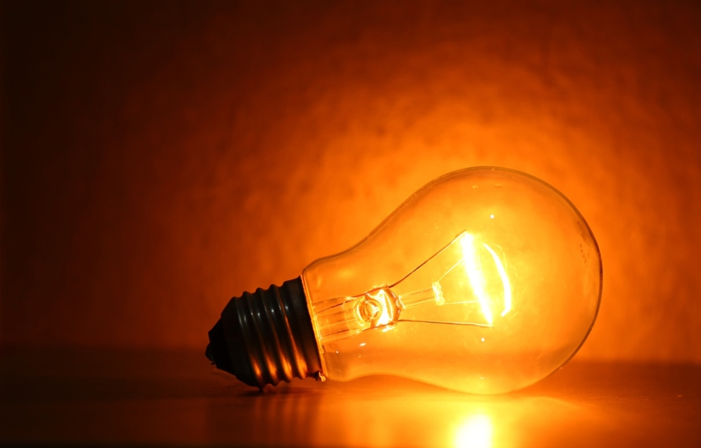 Close up of electric  tungsten bulb illuminating